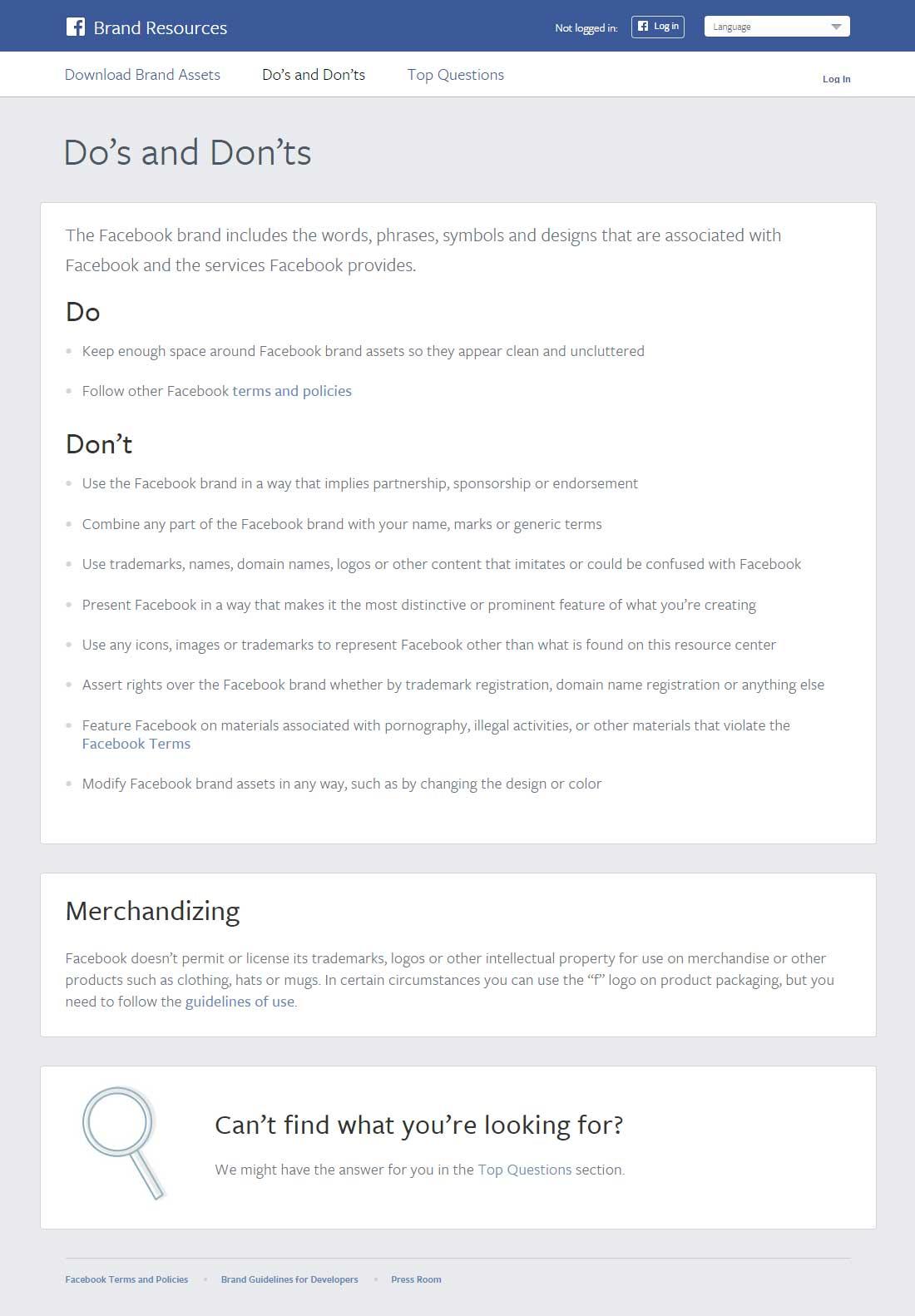 Die Do's & Don'ts bei der Verwendung des Facebook Logos (Screenshot: facebook.com)