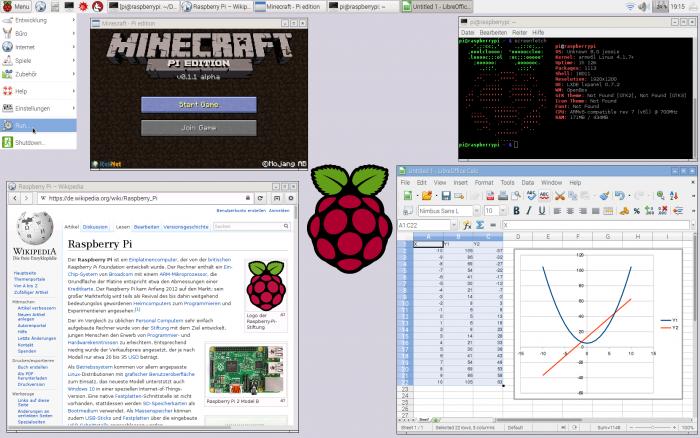 Raspbian-Desktop mit geöffneten Programmen (Bild: Saschen - Eigenes Werk, CC BY-SA 3.0)