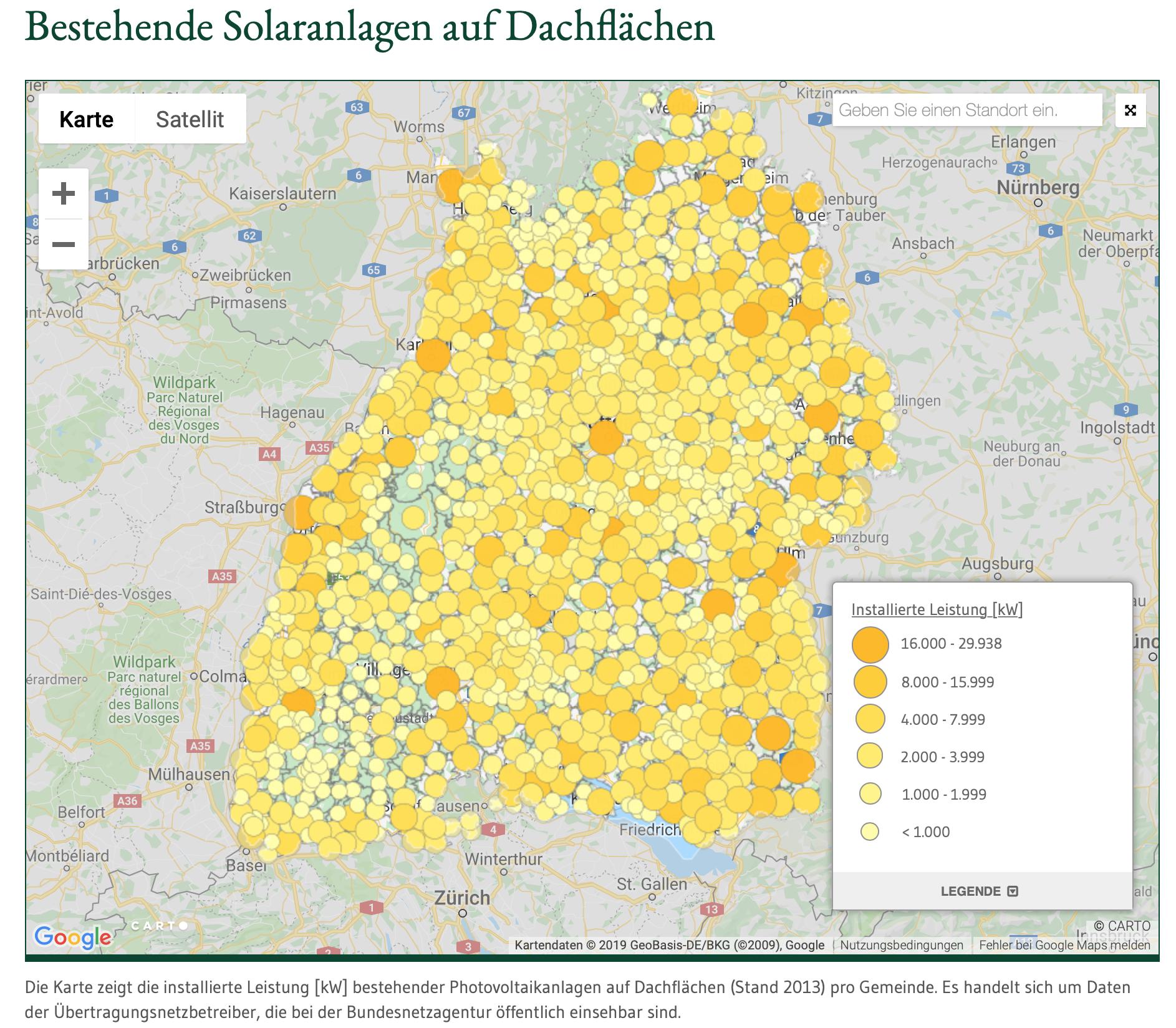 Bestehende Solaranlagen auf Dachflächen in Baden-Württemberg