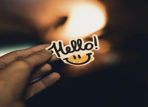 """Sticker: """"Hello"""""""